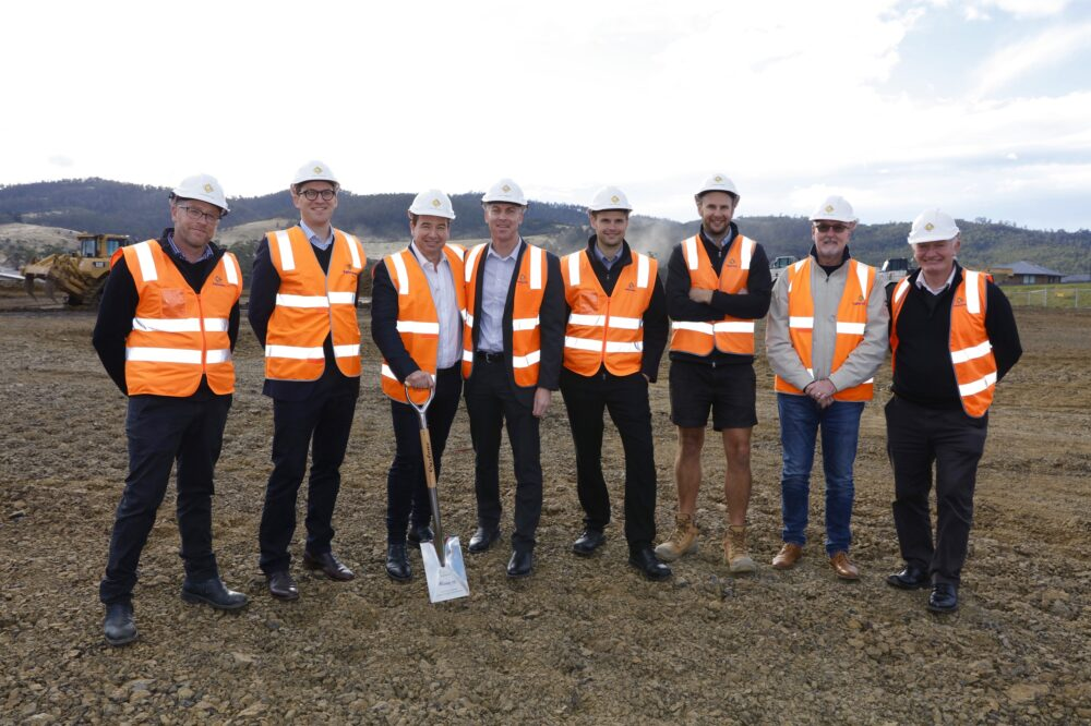 Members of the Clarence City Council and representatives from Fairbrother and Tipalea Partners at the soil turning event for the Glebe Hill Village retail centre.
