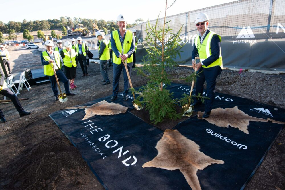 The Bond Norwest tree planting ceremony with Tim Spencer from Mulpha and Tony Sukkar AM from Buildcorp